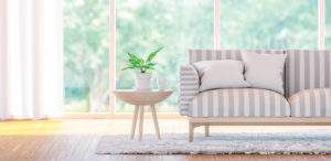 End table with planter next to sofa | Pink Shoe Cleaning Crew | House Cleaning Omaha