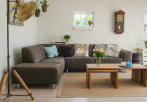 Living Room sectional sofa with coffee table | Pink Shoe Cleaning Crew | House Cleaning Omaha