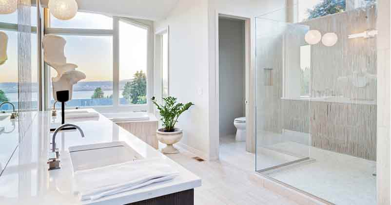 Bathroom sink shower and toilet closet | Pink Shoe Cleaning Crew | House Cleaning Omaha