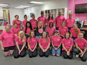 Pink Shoe Cleaning Crew Team Photo   House Cleaning Omaha