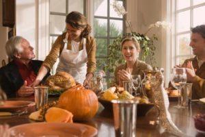 Family celebrating Tahnksgiving